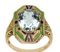 Art Deco Aquamarine & Enamel Ring