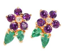 Field of Gems - Flower Amethyst Emerald Earrings