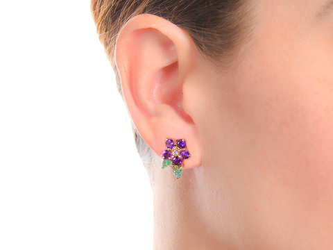 Field of Gems - Flower Amethyst Emerald Earrings