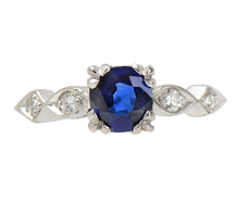 No Heat Sapphire Diamond Engagement Ring