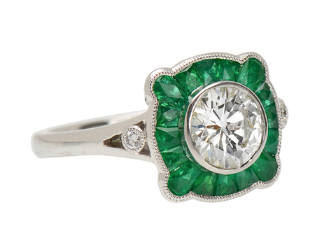 Emerald & Diamond Platinum Ring
