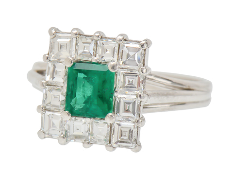 On the Square - Emerald Diamond Ring