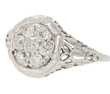 Art Deco Diamond Filigree Cluster Ring