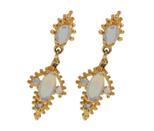 Vintage Opal Dangle Gold Earrings