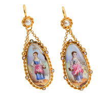 Antique French Enamel Earrings