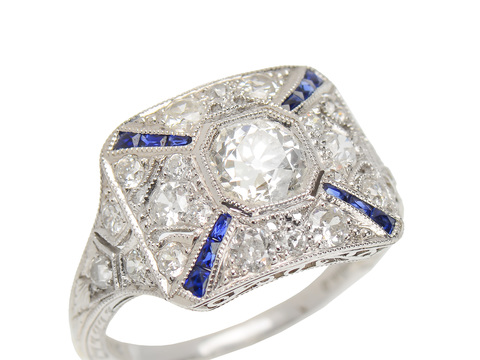 Timeless Diamond Sapphire Unique Ring