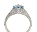Aquamarine Diamond Platinum Ring