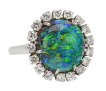 Australian Black Opal & Diamond Ring GIA