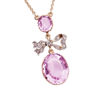 Edwardian Pink Topaz Diamond Necklace