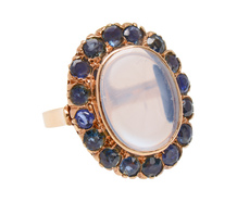 Exotica - Blue Moonstone Sapphire Halo Ring
