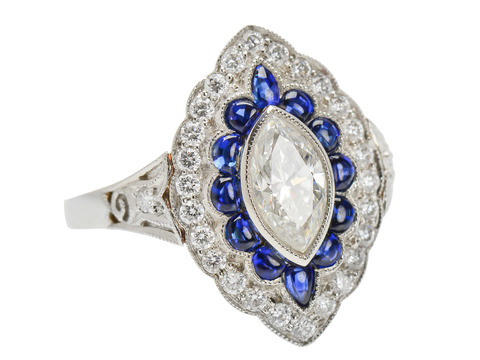 Marquise Diamond Sapphire Cluster Ring