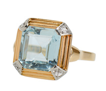 RetroFabulous - Aquamarine Diamond Ring