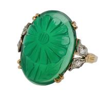 Carved Chrysoprase & Diamond Flower Ring