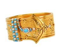 Rare Victorian Pearl Turquoise Snake Bracelet