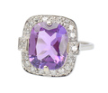 Vintage Amethyst & Diamond Halo Ring
