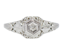 Filigree Vintage Solitaire Diamond Engagement Ring