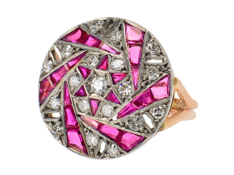Jewelry Sculpture - Ruby & Diamond Dinner Ring