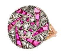 Jewelry Sculpture - Ruby & Diamond Dinner Ring