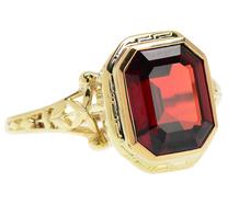Garnet & Gold Art Deco Ring
