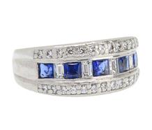 Diamond Sapphire Half Eternity Band