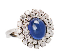 French Halo Diamond Sapphire Estate Ring