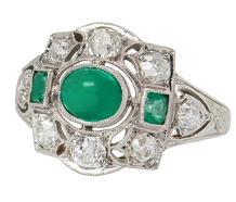 Domed Pleasure - Art Deco Emerald Diamond Ring