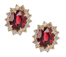Garnet Diamond Halo Earrings