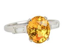 No Heat Yellow Sapphire Diamond Ring