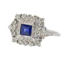 Ornate Sapphire Diamond Engagement Ring