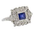 Ornate Sapphire Diamond Engagement Ring