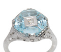 Fancy Vintage Aquamarine & Diamond Ring