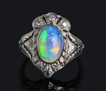 Night Sky - Opal Platinum Ring