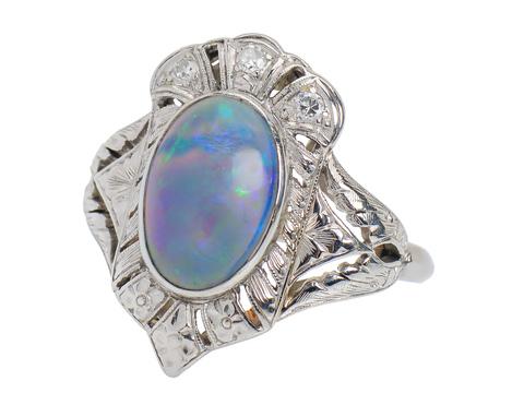 Night Sky - Opal Platinum Ring