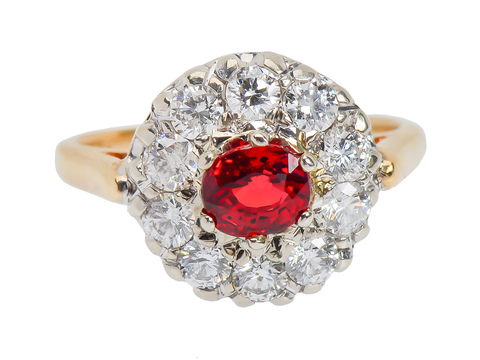 Queen's Crown - Ruby Diamond Halo Ring