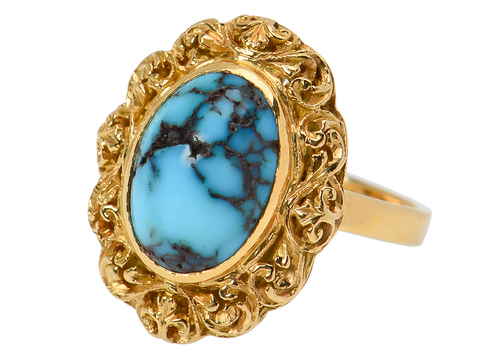 Ornate Turquoise Estate Ring