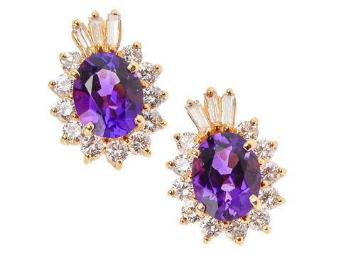 Bewitching Amethyst Diamond Earrings