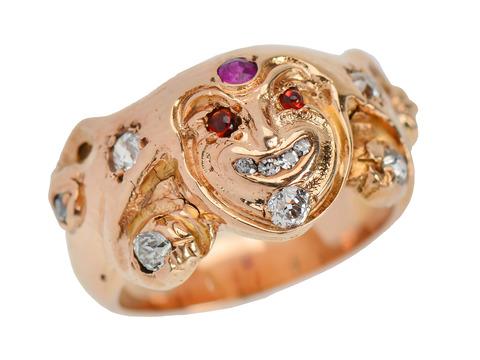 Estate Ruby Diamond Court Jester Ring