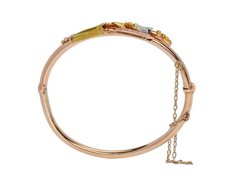 Wearable Posy - Art Deco Three Tone Gold Bracelet