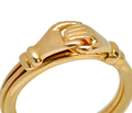 English Fede Hands Heart Gimmel Ring in 18k Gold