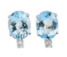 Aquamarine Diamond Stud Earrings