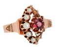 Victorian Moon & Star Garnet Pearl Ring