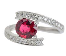 Moi et Toi Ruby Diamond Crossover Ring