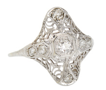 Fab Filigree Art Deco Diamond Ring