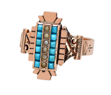 Antique Victorian Turquoise & Pearl Ring