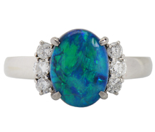 Mysterious Australian Black Opal Diamond Ring