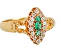 Antique Emerald Diamond Ring Dated 1899