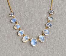 Seductive - Blue Moonstone Fringe Necklace