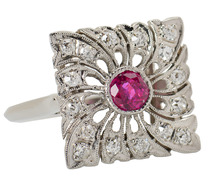 Whirlwind - Art Deco Ruby Diamond Ring