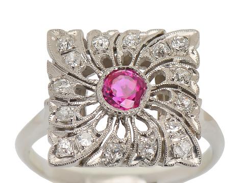 Whirlwind - Art Deco Ruby Diamond Ring