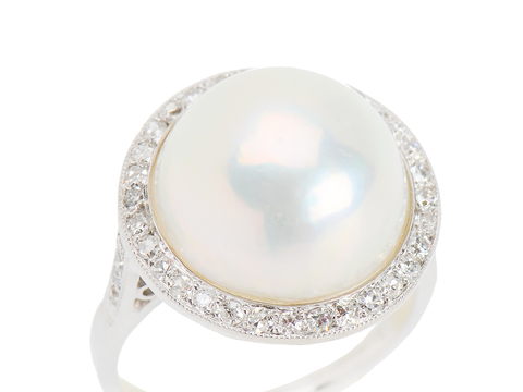 Shoot The Moon - Mabe Pearl Diamond Ring